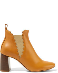 Chloé Scalloped Leather Ankle Boots Camel