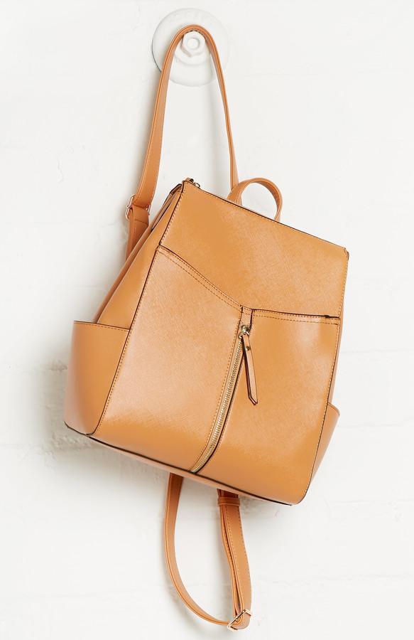 Julie Brown Dailylook Vegan Leather Zip Backpack In Tan | Where to ...