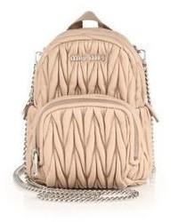 Miu Miu Mini Matelasse Leather Crossbody Backpack
