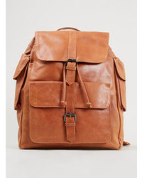 Topman tan leather backpack medium 100234