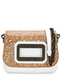 Tomas Maier Disco Laser Cut Cork Leather Shoulder Bag Taupe