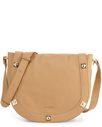 See by Chloe Sadie Medium Studded Leather Saddle Bag Cappuccino