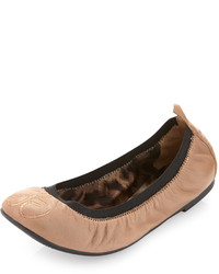 Tan Leather Ballerina Shoes