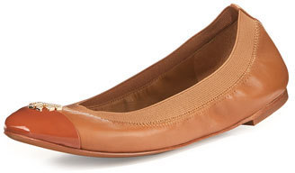 03c6d847e48 ... Leather Ballerina Shoes Tory Burch Jolie Logo Ballerina Flat Royal Tan  ...