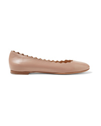 Chloé Lauren Scalloped Leather Ballet Flats