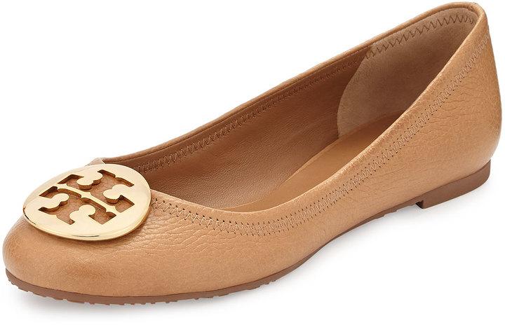 c206a1ff4ef1e9 ... Shoes Tory Burch Reva Leather Ballerina Flat Tan ...