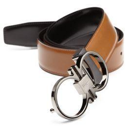 ca01e9f2444a3 ... Salvatore Ferragamo Adjustable Reversible Double Gancini Leather Belt  ...