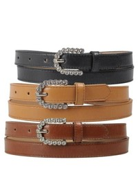 Journee Collection Rhinestone Buckle Faux Leather Skinny Belt