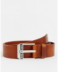 Diesel Leather Logo Belt In Tan