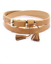 LuLu*s Believe You Me Tan Tassel Belt