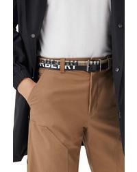 Burberry Mack Check Leather Canvas Belt