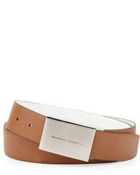 Giorgio Armani Reversible Belt With Logo Plaque Whitetan