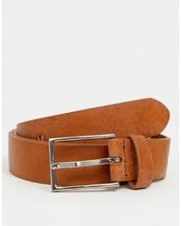 ASOS DESIGN Smart Faux Leather Slim Belt In Tan