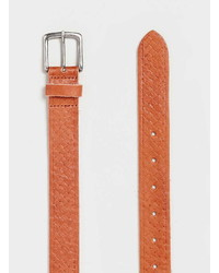 Topman Tan Embossed Leather Belt