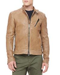 Tan Leather Biker Jacket