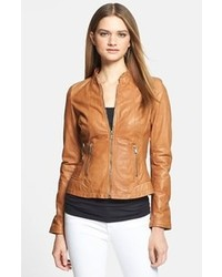 Tan Leather Biker Jacket | Women's Fashion