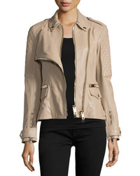 Burberry Remmington Leather Biker Jacket Honey