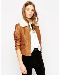 Asos Collection Leather Biker Jacket With Faux Fur Collar