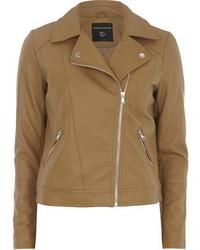 Dorothy Perkins Tan Faux Leather Biker Jacket