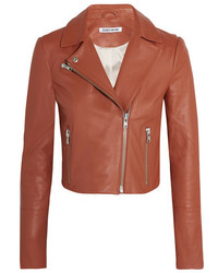 Gigi cropped leather biker jacket camel medium 1139959