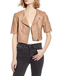 LaMarque Kirsi Crop Short Sleeve Leather Moto Jacket