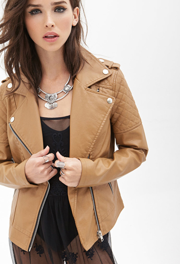 color brilliancy wide selection special selection of $24, Forever 21 Quilted Faux Leather Jacket