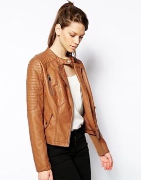 Oasis Sophie Faux Leather Biker Jacket Tan | Where to buy & how to ...
