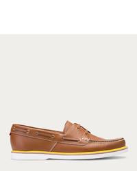 Bally Gabel Havana Leather Boat Shoe