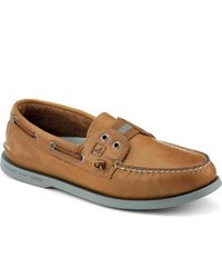Sperry Topsider Shoes Authentic Original Color Pop Gore Boat Shoe Tan Teal Leather