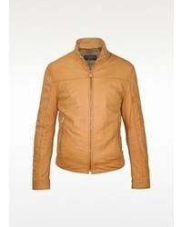 Forzieri Brown Soft Leather Motorcyle Jacket