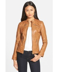 Lamarque leighton stitch detail lambskin leather jacket medium 359240