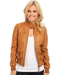 Tan Leather Jacket For Women - Jacket