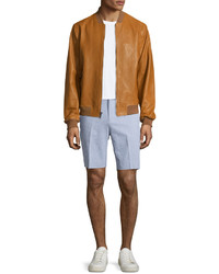 Michael Kors Michl Kors Zip Up Leather Bomber Jacket Camel