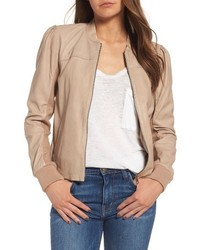 Shrunken leather bomber jacket medium 4977184