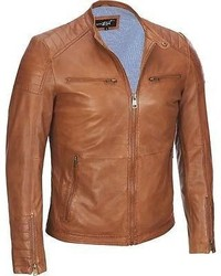 Black Rivet Snap Collar Leather Cycle Jacket Xl Tan