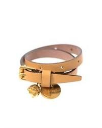 Alexander McQueen Leather Skull Charm Wrap Bracelet