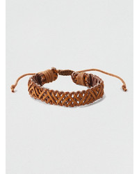 Topman Leather Woven Bracelet