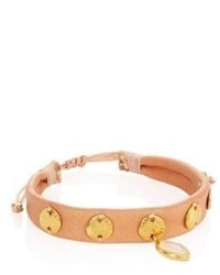 Moonstone leather pull tie bracelet medium 956200