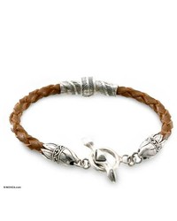 NOVICA Sterling Silver And Leather Bracelet Feather