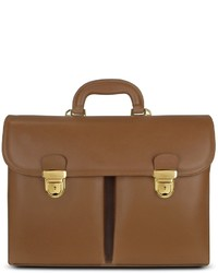 Front pocket tan brown italian leather briefcase medium 442945