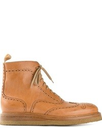 Tan Leather Brogue Boots