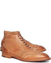 Brooks Brothers Leather Perforated Contrast Boots