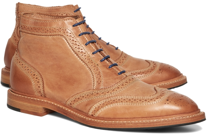 e509b97dcb5 ... Brooks Brothers Leather Perforated Contrast Boots ...