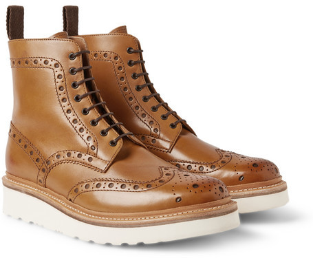 b486b68b23e ... Tan Leather Brogue Boots Grenson Fred Leather Brogue Boots ...