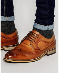 Asos Brand Brogue Shoes In Tan Polished Leather