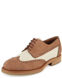 Mixed media wing tip shoe beige medium 578378