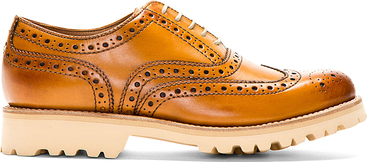 a448b30fe71 Grenson Tan Boot Sole Stanley Brogue Shoes, $445 | SSENSE ...