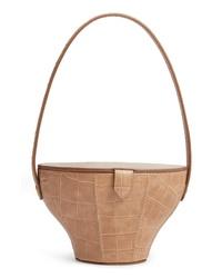 Staud Alice Croc Embossed Leather Bucket Bag