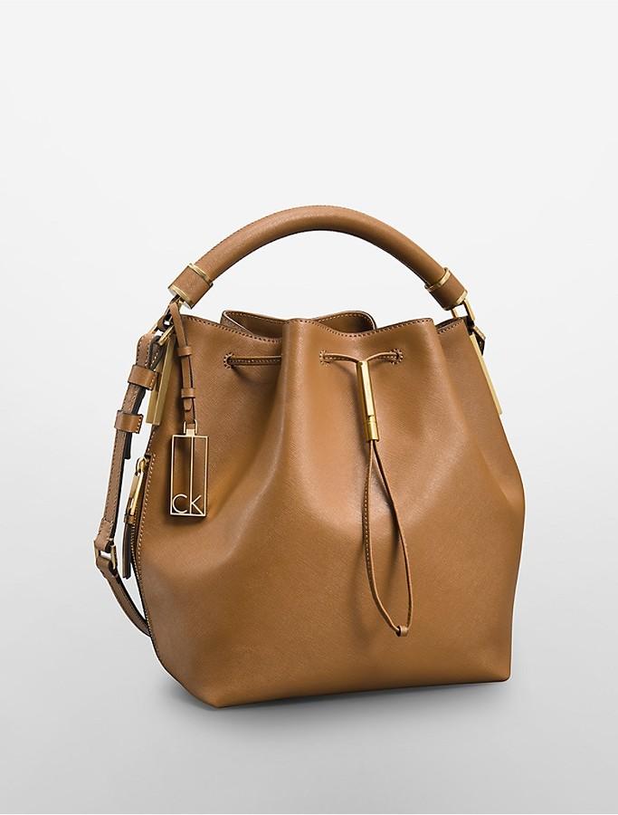 Calvin Klein Galey Saffiano Leather Convertible Drawstring Bucket Bag