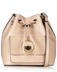 Topshop Circle Lock Faux Leather Bucket Bag